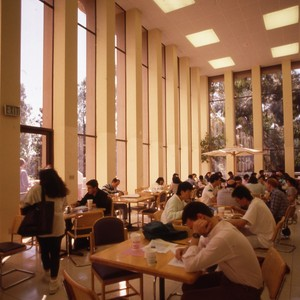 Interior views of the Gateway Commons, with students sitting in the background.