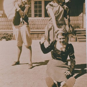 Young women playing in front of the dining hall at the Institute ...