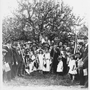 Luther Burbank planting memorial trees at Santa Rosa, Cal. Arbor Day, March ...