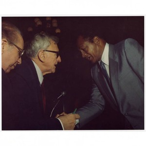 Frederick C. Dockweiler with Mayor Tom Bradley at Italian American lawyers dinner, ...