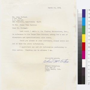 Letter to Doug Michels from Edward McCartney (House of the Century Fan ...