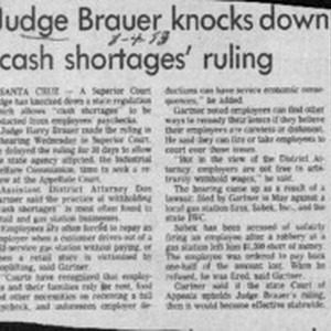 Judge Brauer knocks down 'cash shortages' ruling
