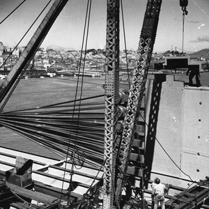 View of the San Francisco Oakland Bay Bridge showing the spinning of ...