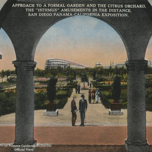 "Approach to a Formal Garden and the Citrus Orchard. The ""Isthmus"" Amusements ..."