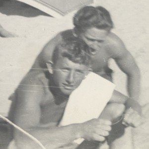 Bob Gillies, Lloyd Ragon at Cowell Beach