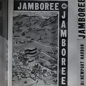Image of printed map of 1953 Boy Scout Jamboree at Newport Harbor, ...