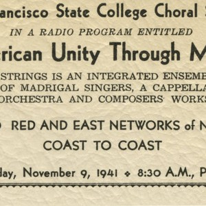 Handbill announcing San Francisco State College Choral Strings in a Radio Program ...