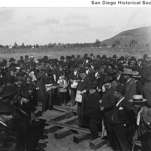 Celebrating the driving of the last railroad spike in La Jolla