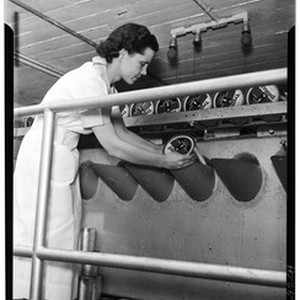 Woman loading cans of lemon juice in an unidentified factory