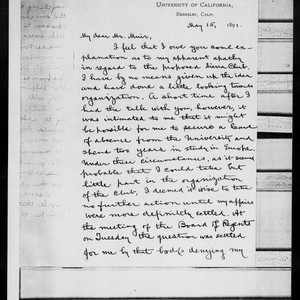 Letter from Wm. Dallam Armes to John Muir, 1891 May 15