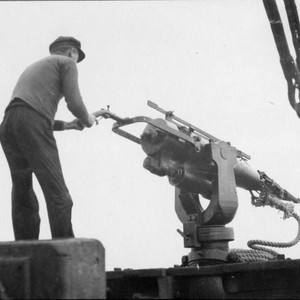 "Photograph of Harpoon Gun on the Whaler """"Hercules"""""