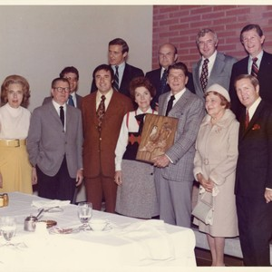 Governor Reagan holding the Art Piece--L to R: Front Row: Mrs. Brock, ...