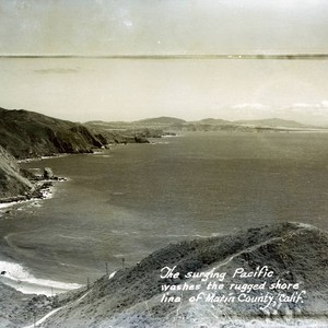 View of the Pacific Ocean along the Marin County shoreline, circa 1942 ...