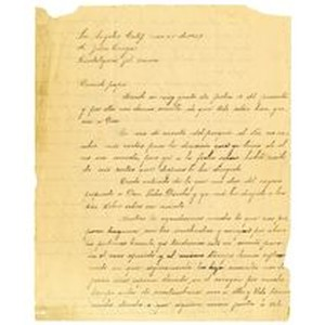 Letter from Miguel Venegas to Juan Venegas, November 25, 1927