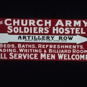 To the Church Army Soldier's Hostel ... Beds, baths, refreshments, reading, writing ...