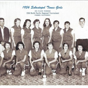 1956 Sebastopol Times Girls softball team group photo at Fresno, California