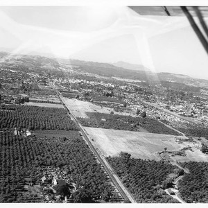 Aerial view of Santa Rosa looking northeast from over the railroad south ...