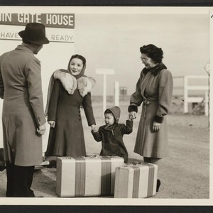 First Japanese-American family leaves Central Utah Relocation Center for California. Mrs. Saku ...
