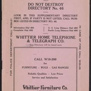 Whittier Home Telephone Directory Supplement, No. 46
