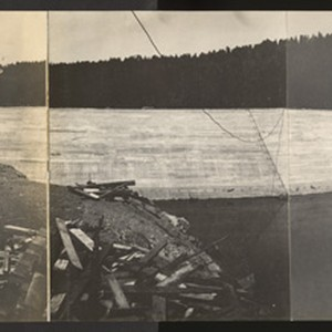 Strawberry Dam. Sept. 15, 1916. Panoramic view showing permanent spillway, spillway lip, ...