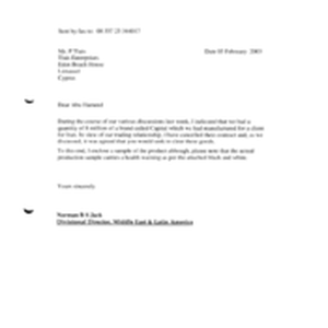[A Letter from BS to Jack P Tlais regarding cancellation of contracts]