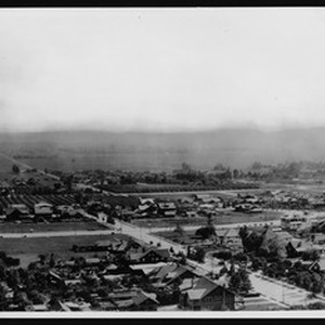 Panoramic view of Hollywood looking west from the head of Orange Street, ...