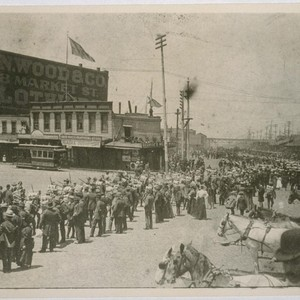Embarcadero & Clay St., looking north. Returning soldiers from Spanish-American War, 1899