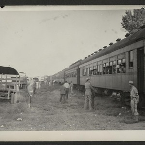 The train of Tule Lake evacuees as it arrived in Granada. Photographer: ...