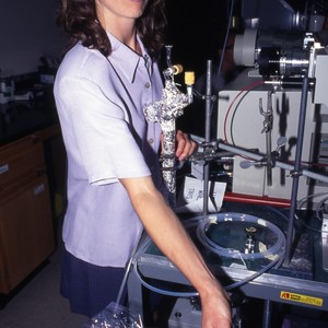 Dr. Tracy Caldwell from NASA, working in a science lab.
