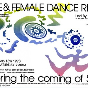 "Poster for workshop ""Male and Female Dance Rituals honoring the coming of ..."