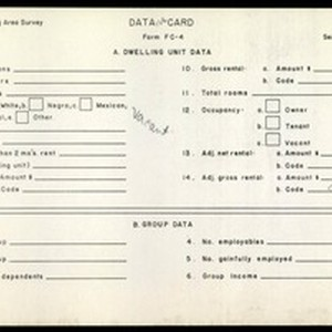 WPA Low income housing area survey data card 126, serial 5434, vacant