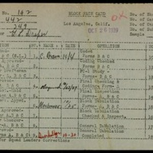 WPA block face card for household census (block 349) in Los Angeles ...