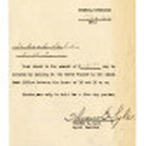 Letter from Thomas B. Lyle, Agent Cashier, Jerome Relocation Center, to Takashi ...