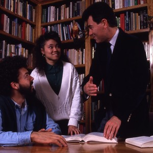 Professor Francisco Ayala, with students.