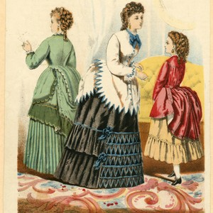 Two women and a girl in New York fashions, Autumn 1872