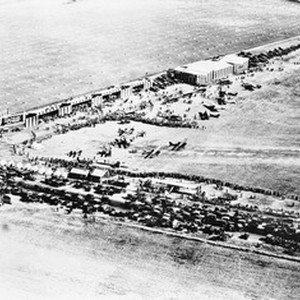 Aerial view looking southeast on crowds at Sid Chaplin's airport at the ...