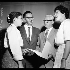 Teacher hearing on sex instruction at Van Nuys school, 1959