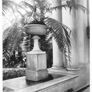 Decorative urn on loggia of Huntington residence