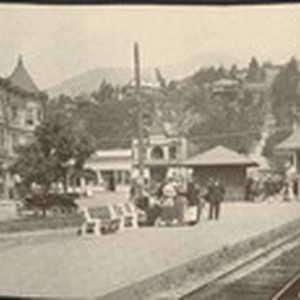 The Mill Valley Depot, passengers waiting for train