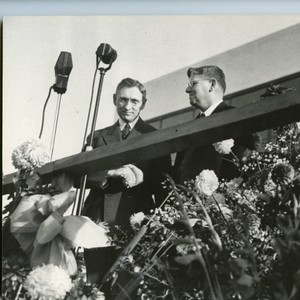Dedication Ceremony--L to R: Mr. Pepperdine, Batsell Baxter, first President of the ...