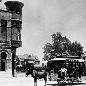 Horse car at intersection of Main and D Streets in front of ...