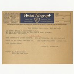 Telegraph from Isidore B. Dockweiler to Edward Vincent Dockweiler, June 24, 1941