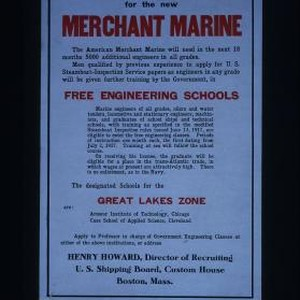 Engineers wanted for the new Merchant Marine. The American Merchant Marine will ...
