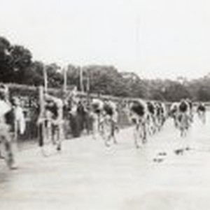 Group of bicycle racers on track