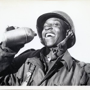 Trainee taking a drink of water at Fort Ord