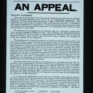 National Advisory Committee on War Output. An Appeal. Fellow workmen: Cases of ...
