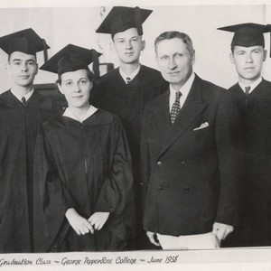 George Pepperdine with the first graduates of George Pepperdine College, 1938