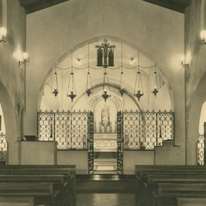 Lucile Lloyd: Interior view, Saint Mary of the Angels Church, (Hollywood, Calif.)