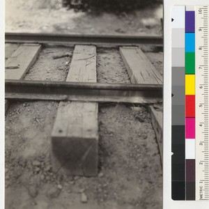 Chemonited cross ties in logging railroad track of Diamond Match Company, 4 ...