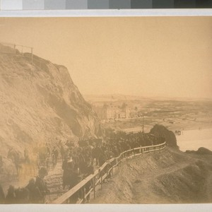 Scene from the Cliff House, San Francisco, California, January 16, 1887 (people ...